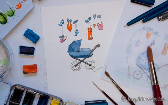 Illustration Babykarte Josephine Ziprian