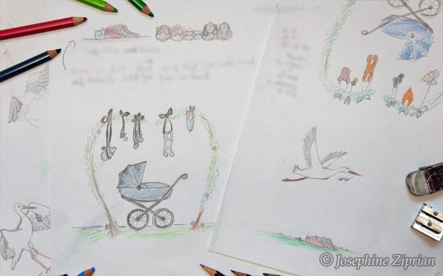 Skizze Babykarte Josephine Ziprian