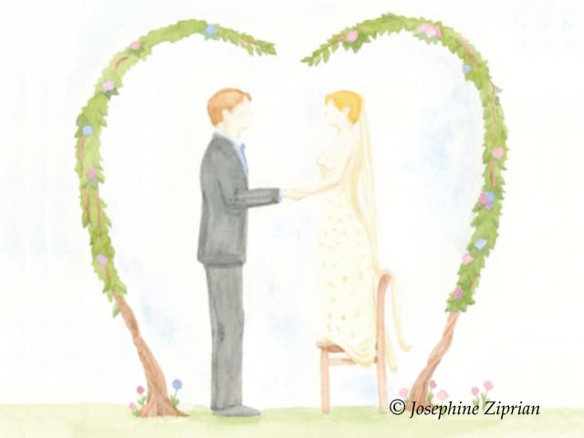 Hochzeitskarte Aquarell von Josephine Ziprian
