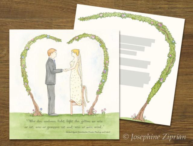 Fertige Hochzeitskarte von Josephine Ziprian